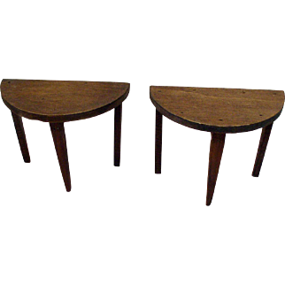 Pair of original 1920's Tynietoy Demi Lune Tables - Dollhouse Furniture