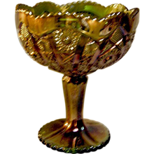 Imperial Glass Gold on Green Carnival Compote
