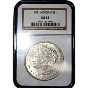 1921 Morgan Silver Dollar graded