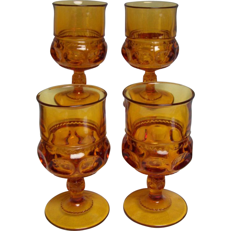 Kings Crown Water Goblet Amber set of 4