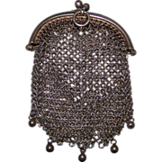 Sterling Mesh Coin or Key Chatelaine Purse