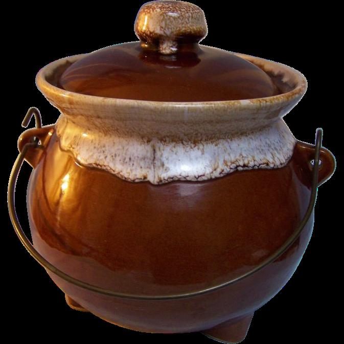 Bean Pot Brown Drip Bale handle USA