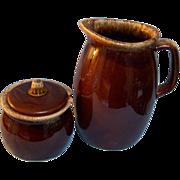 Hull Brown Drip Milk Pitcher & Sugar Bowl