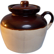 USA Bean Pot Stoneware Crock Handle Lid