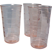 "Block Optic Pink Depression tumbler Flat 5""  set of 3"