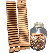 Primitive Wood Cigar Mold with cigar bands in jar