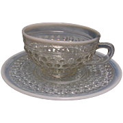 Moonstone Opalescent Cup & Saucers  set of 3