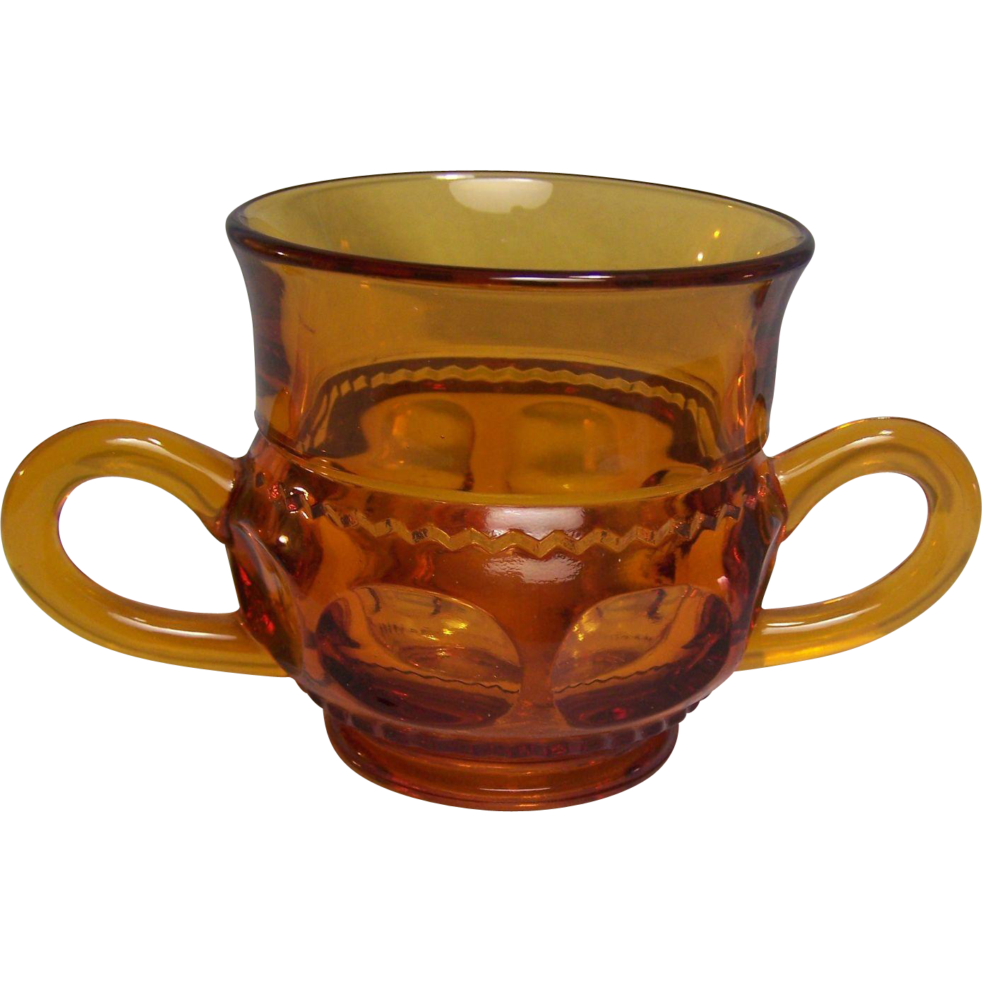 Indiana Glass Kings Crown Amber Sugar Bowl