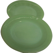 Fire King Jadeite Jane Ray Plates  Set of 2