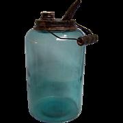 SALE Dandy Kerosene Railroad Oil Jar Blue