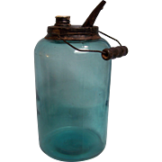 Dandy Kerosene Railroad Oil Jar Blue