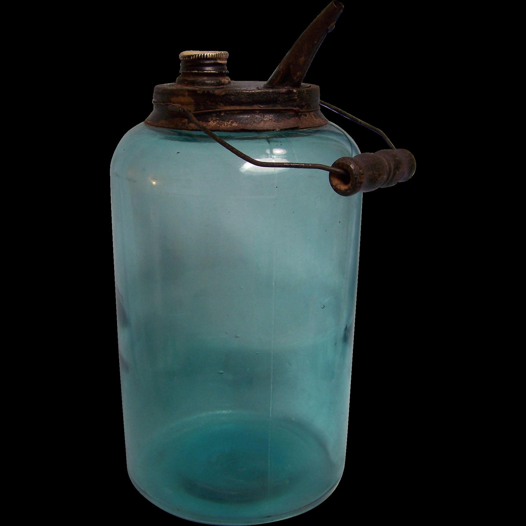 Dandy Kerosene Railroad Oil Jar Blue