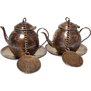 Columbia Tea Ball Teapot with chain and Coin silver set of 2