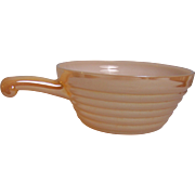 Fire King Copper Tint Peach Lustre Soup Bowl Handle