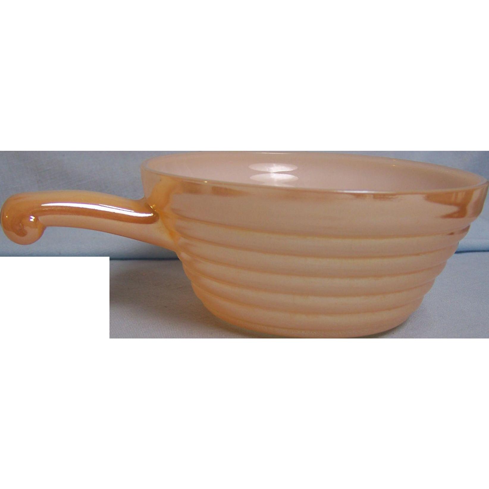 Fire King Copper Tint Peach Lustre Soup Bowl Handle