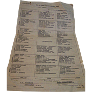 Bill of Fare USS Beaver November 1935 - Red Tag Sale Item