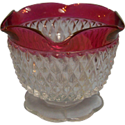 Diamond Point Ruby Flash Jelly Mayo Dish Indiana Glass