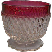 Diamond Point Ruby Sugar Jelly Bowl Indiana Glass