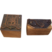 Printers Block Wood Advertising  Stamps set of 2