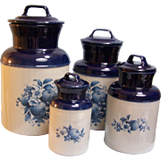 McCoy Pottery Canister  Navy Grey Set of 4
