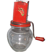 Hazel Atlas Nut Spice Nutmeg Grinder w Jar & Wood Handle