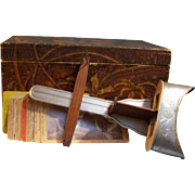 Perfecscope Stereoscope, Flemish Wood Box , 8 stereoview cards