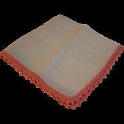 Linen Handkerchief Coral Crochet Lace Trim