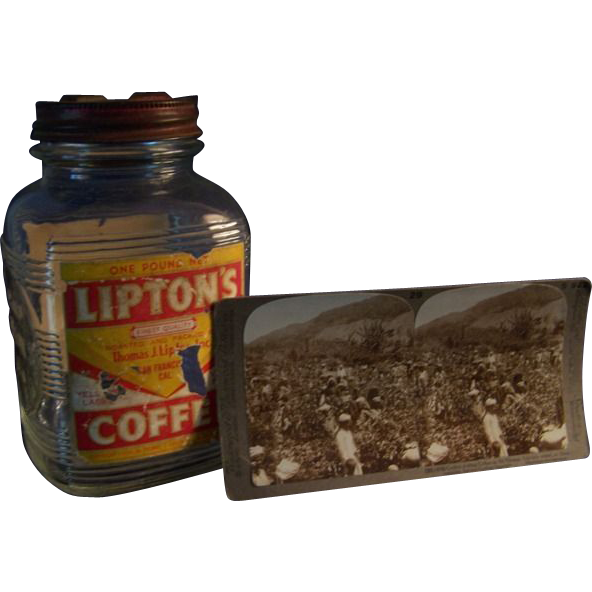 Lipton Coffee Jar and Stereoview card