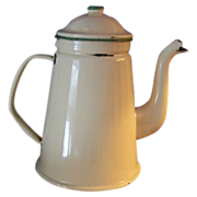 Vintage Enamelware G & M Coffee Pot Green Cream