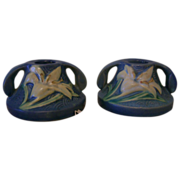 Roseville Candle Holder Zephyr Lily Blue Pair