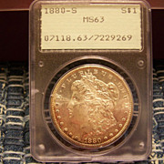 1880 S Morgan Silver Dollar PCGS Green label MS 63