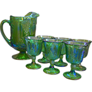 Harvest Grape Green Pitcher & Goblets Indiana