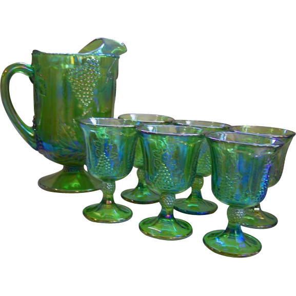 Harvest Grape Green Pitcher Amp Goblets Indiana From Wings