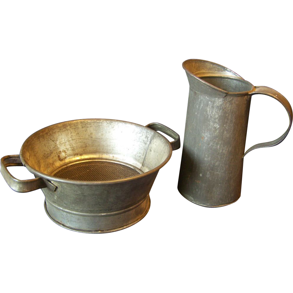 Primitive Berry Strainer and Metal Pitcher