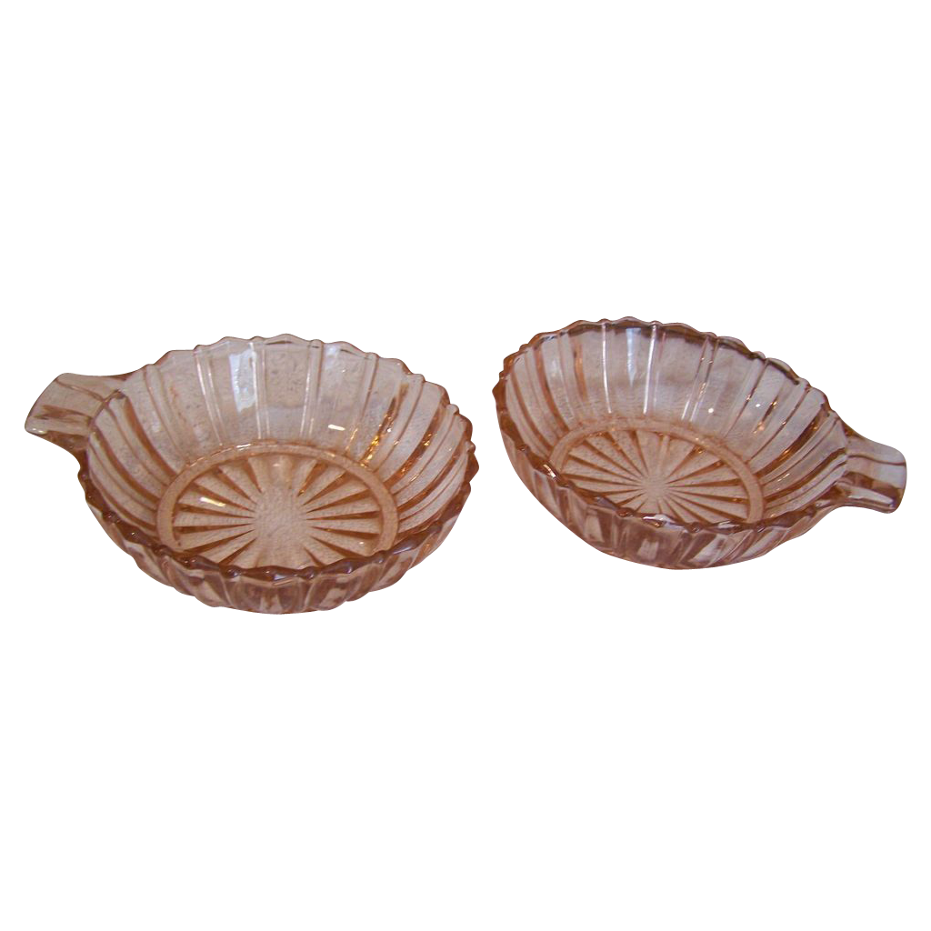 Hocking Depression Fortune Dessert Bowl tab Handle set of 2