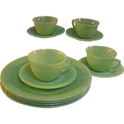 Fire King Jane Ray Dinnerware Jadeite 12 piece