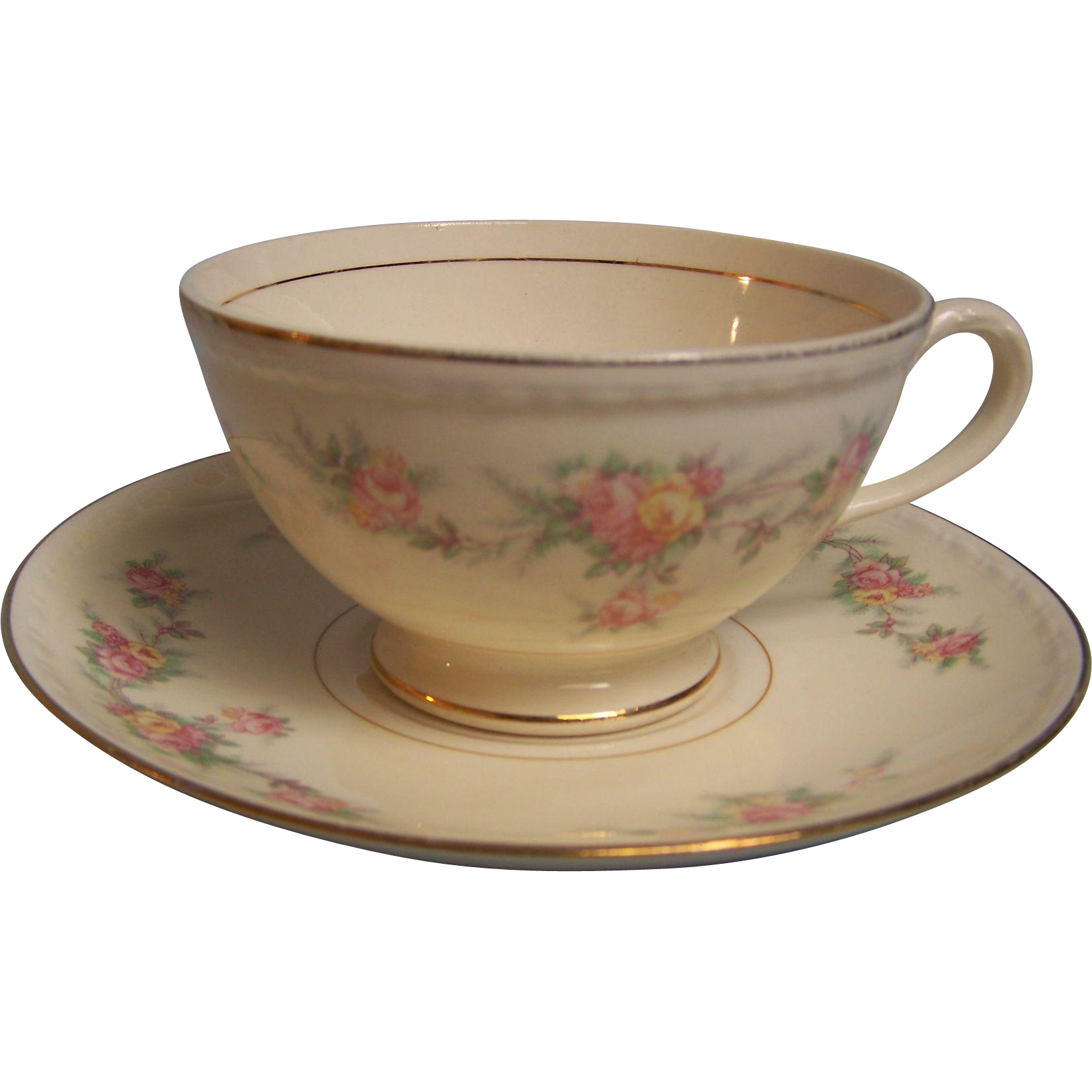 Homer Laughlin Tea Cup Saucer Eggshell Georgian