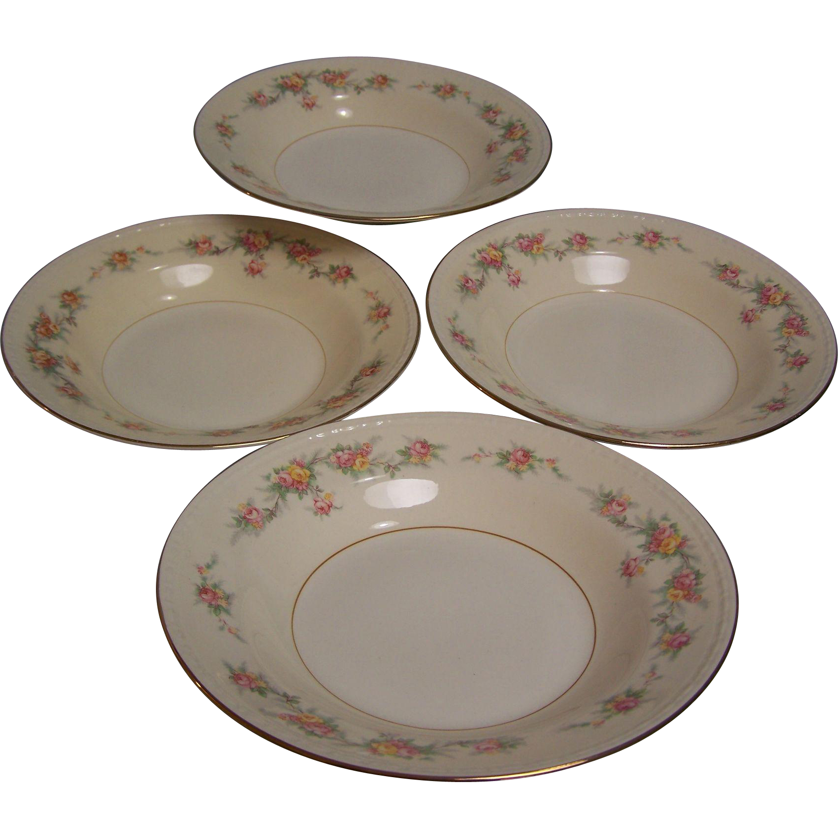 Homer Laughlin Rimmed Soup Bowl Eggshell Georgian set of 4