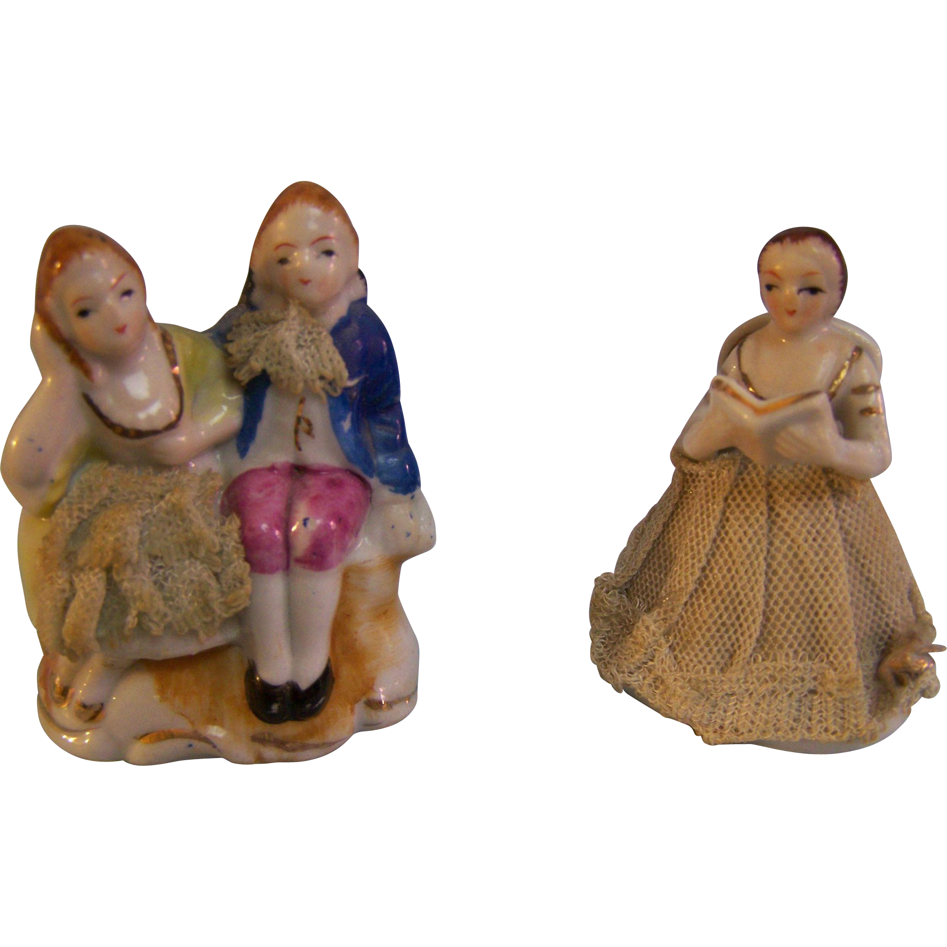 Miniature Victorian Figurines with Lace  Set of 2