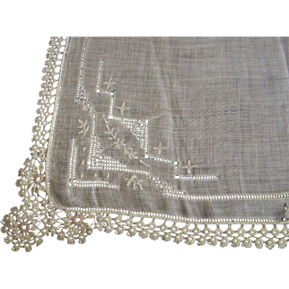 Handkerchief Tatted Cream & Pink Lace, Pulled Thread, Embroidered
