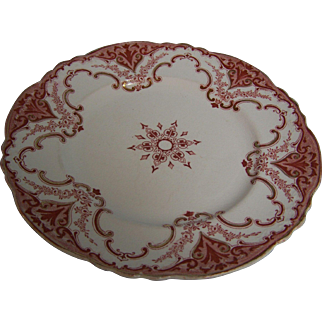 """Alfred Meakin Cambridge Transfer Gold & Red 9"""" Plate"""
