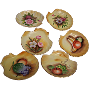 Enesco Japan Shell Plates Hand painted set of 6