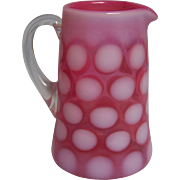 Fenton Cranberry Coin Dot Opalescent Creamer Pitcher