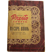Presto Pressure Cooker, 1945 Recipe and Instruction Book model 40 - Red Tag Sale Item