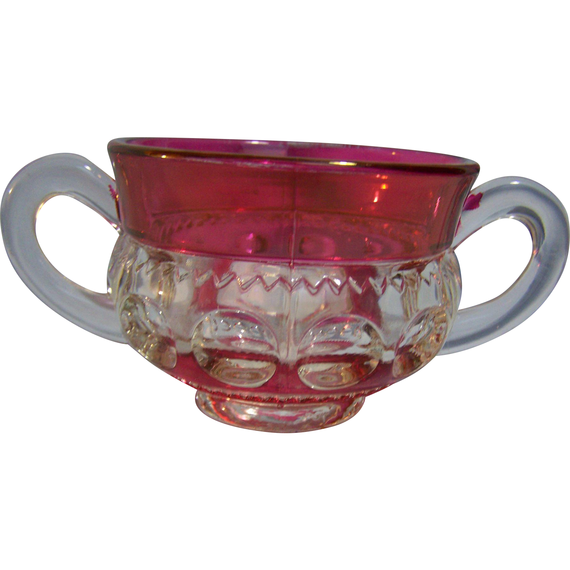 Kings Crown Pattern 1950-65  sugar bowl Double Flash Ruby