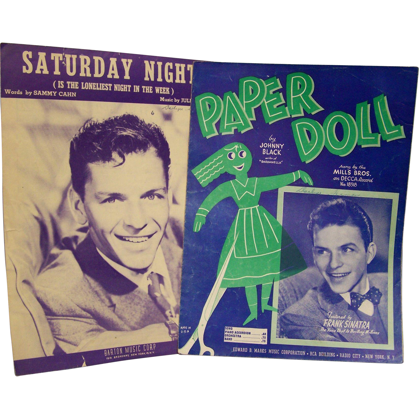 Sheet Music Frank Sinatra Paper Moon Saturday Night set of 2