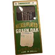 Embroidery Needle Green Oak England