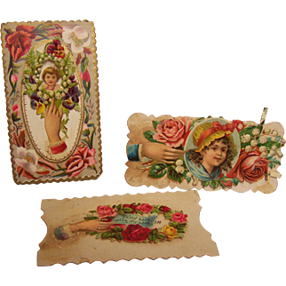 Victorian Calling Card Embossed set of 3