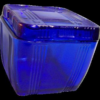 Hazel Atlas Criss Cross Refrigerator Dish Cobalt Blue Lid