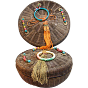 Wicker Sewing Baskets with Beaded Lids set of 2